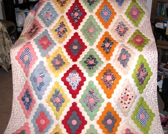 Hexi Diamonds Hand pieced Hand Quilted Lap / Throw Quilt