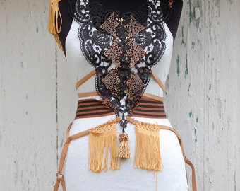 Steampunk body harness, steampunk, lace filigree, victorian, copper apliques, decadence, strech,lingerie, size medium,bdsm,performance,stage