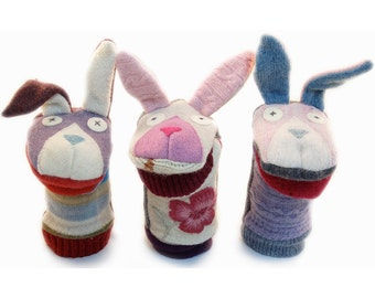Cate and Levi Handmade Bunny Hand Puppet (Premium Reclaimed Wool), Colors Will Vary