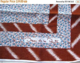 HOLIDAY SALE Vintage 60s Scarf Oscar de la Renta Brown & Blue Italian Neck Tie Square Scarf Accessory