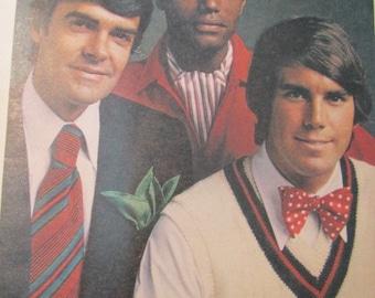 Butterick 3417 vintage 1970's Wide Necktie Pattern, Bow Tie Pattern and Ascot Pattern -1970's Neck Tie Pattern - 1970's Men -