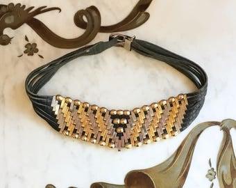 Vintage 80s Black Leather Belt / 1980s Jose Cotel Gold and Silver Plaque Bead Belt s m