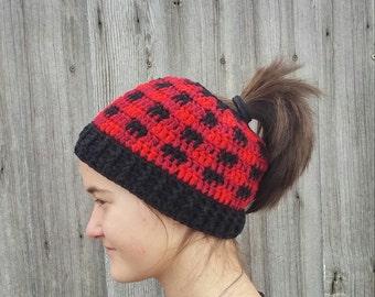 Messy bun hat, Ponytail Hat, Plaid Hat, Woodmans Hat, Warm Hat, Womens Hat, Teen Hat, Plaid Bun Hat, Crochet Hat, Winter Hat, Ready to Ship