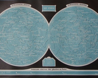 Original vintage book print charting the stars in THE SKY from Larousse Universel published 1922
