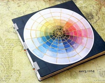 Handbound Art Journal Mixed Media Sketchbook - color wheel
