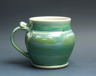 Sale - Pottery beer mug, ceramic mug, stoneware stein jade green 22 oz 3622