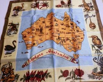 Vintage Australian Scarf - Souvenir Scarf - Map of Australia Scarf - Ladies Scarf