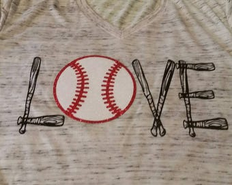 Love Baseball Shirt, Love Baseball Bats Shirt, Baseball Shirt, Woman's Baseball Shirt, Baseball Tank, Softball Shirt, Baseball Mom Shirt