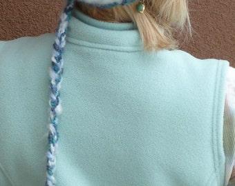 Ponytail Hat / Women's Fashion / Women's Crochet Hat / Designer Hat / Colorado Ski Accessories / Blue Winter Hat / Hats By Anne 1942