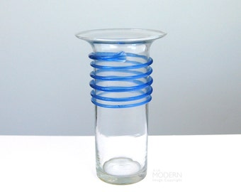 Blenko Glass Clear Tall Vase With Blue Spiral
