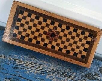 Antique Wood Box, Vintage Wood Box, Hinged Box, Wood Pencil Case, Checkerboard Box, Vintage Paint Brush Box, Vintage Travel Case