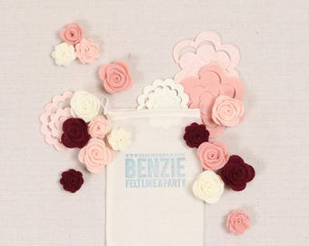 Roses // Felt-Fetti by Benzie // Flower Die Cuts, Felt Roses, Flower Making, Rolled Flowers, Felt Flower Confetti, 3D Flowers, DIY Crafting