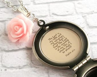 Psalm 27:1 Bible Verse Locket Necklace Christian Jewelry Inspirational Quote Scripture Pendant The Lord is My Light and My Salvation