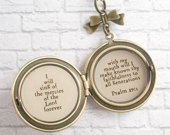 Psalm 89:1 Bible Verse Locket Necklace Inspirational Christian Jewelry Purple Flower Music Pendant I Will Sing of the Mercies of the Lord