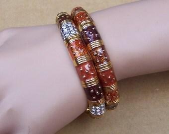 Vintage Joan Rivers enamel rhinestone Classic Collection stretch expanding bracelet (AAF)