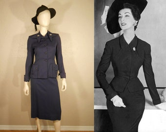 The Devil is in the Details - Vintage 1950s Dark Plum Gabardine Wasp Waist Suit w/Rhinestone Pins - XS