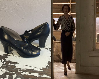An Afternoon Rendezvous - Vintage 1930s NOS Black Leather Elastic Strap Pumps Heels Shoes - 5 1/2C & 6C