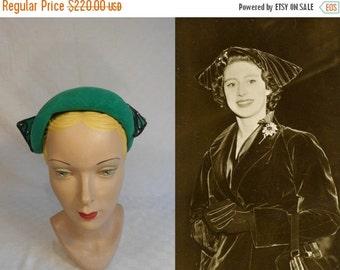 ANNIVERSARY SALE HRH Margaret's Joie de Vivre - Vintage 1950s G Howard Hodge Emerald Green Velour Matador Caplet w/Side Jeweled Horns