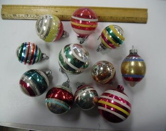 Vintage Christmas  stripe ornaments, old glass stripe ornaments, lot stripe christmas ornaments