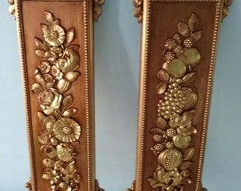 Syroco Wall Plaques, 1970s Vintage Regency Gold Wall Decor, Wall Hangings, Gold Gilded Wall Art