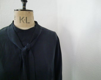 Washed Black Viscose Blouse 1950's Inspired Style ... size S only