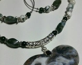 Earth Valentine Moss Agate Heart Necklace Set