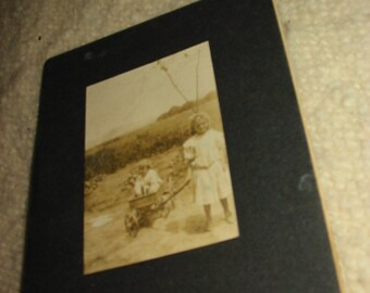 Antique Cabinet Photograph of Children and a Wagon Antique Toy Wagon Photo Portrait