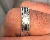 Special Order 7 mm Mens Wedding Band Hand Engraved 14K White Gold Handmade