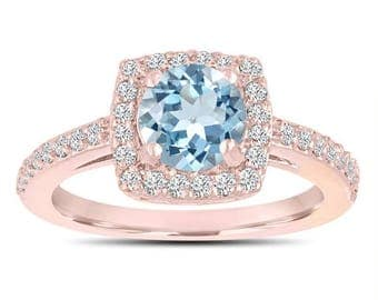 ON SALE Aquamarine Engagement Ring, With Diamonds 14K Rose Gold 1.24 Carat Certified Pave Halo Handmade