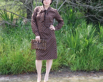 Vintage Chocolate Brown Henry Lee Paisley Printed Dress with Pussy Bow and Button Front Details