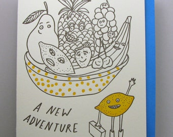 "Letterpress card,  ""New Adventure"""
