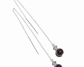 Blue Lapis Lazuli & Swarovski Crystal Sterling Silver Pull Through Earrings 170mm