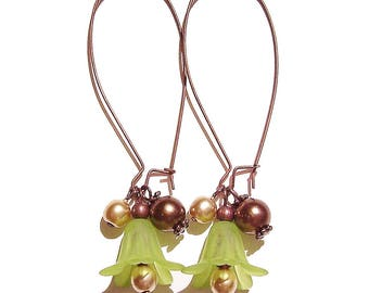 Vintage Style Lucite Lily Flower Cluster Earrings - Green, Brown & Antique Copper