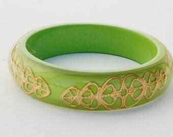 Resin Filigree Brass Green Bangle Bracelet