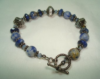1994 Art Show Beaded Lapis and Crystals Bracelet.
