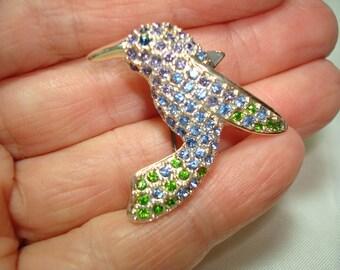 MONET Jeweled Hummingbird Brooch Pin.