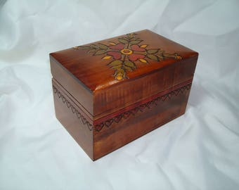 1960s Pennsylvania Dutch Handmade Carved Wooden Recipe Card Box.