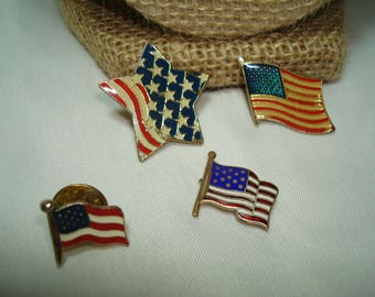 1960s and 1970s Patriotic USA American Flag Pin Set.