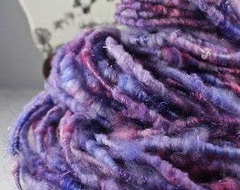 Handspun Art Yarn Corespun Fleecespun Uncarded Targhee 'Hydrangeas '