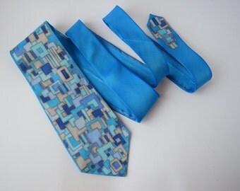 Blue grey tie, dapper tie , hand painted silk necktie