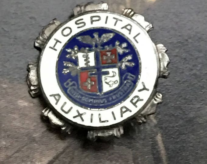 Vintage Sterling Silver Enamel Brooch Hospital Auxiliary Pin
