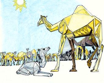 Mother and Baby Camel, Camel Herd, Arabian Camel