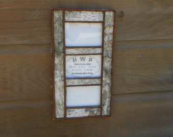 Birch Bark and Twig White Rustic Weddings 5x7 Collage Frames Handcrafted Handmade Picture Frame 4 Sizes to Choose From