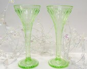 Two vintage Green glass champagne flutes Soda Vases vaseline glass