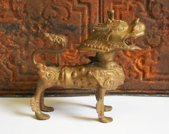 Vintage brass chinese dragon lion foo dog statue figurine rustic aged winged gargoyle Asian guardian soldered hand forged