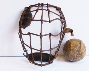 Vintage catchers face Mask Wire Cage facial protection Sports baseball  man cave display prop