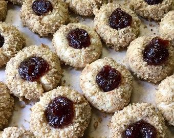 Toasted Nut Shortbread Thumbprint Cookies, Pecan Cookie, Walnut, Edible Gift, Made in Michigan, 1 1/2 DOZEN