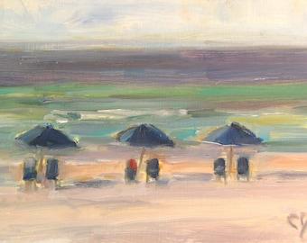Ocean, Beach, Plein Air, Gulf Coast, Destin, Florida, Beach Chairs, Beach Umbrellas, Nautical Decor, Beach Condo, Summer Decor