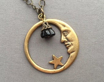 Moon Necklace - Moon Jewelry - Celestial Jewelry - Moon Face Jewelry - Moon and Stars - Man in the Moon - Crescent Moon - Celestial Necklace