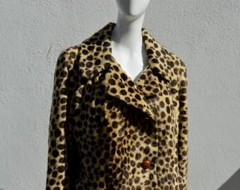 Vintage 60's cropped short bolero FAUX LEOPARD jacket mod space age SAFARI by russel taylor size large by thekaliman